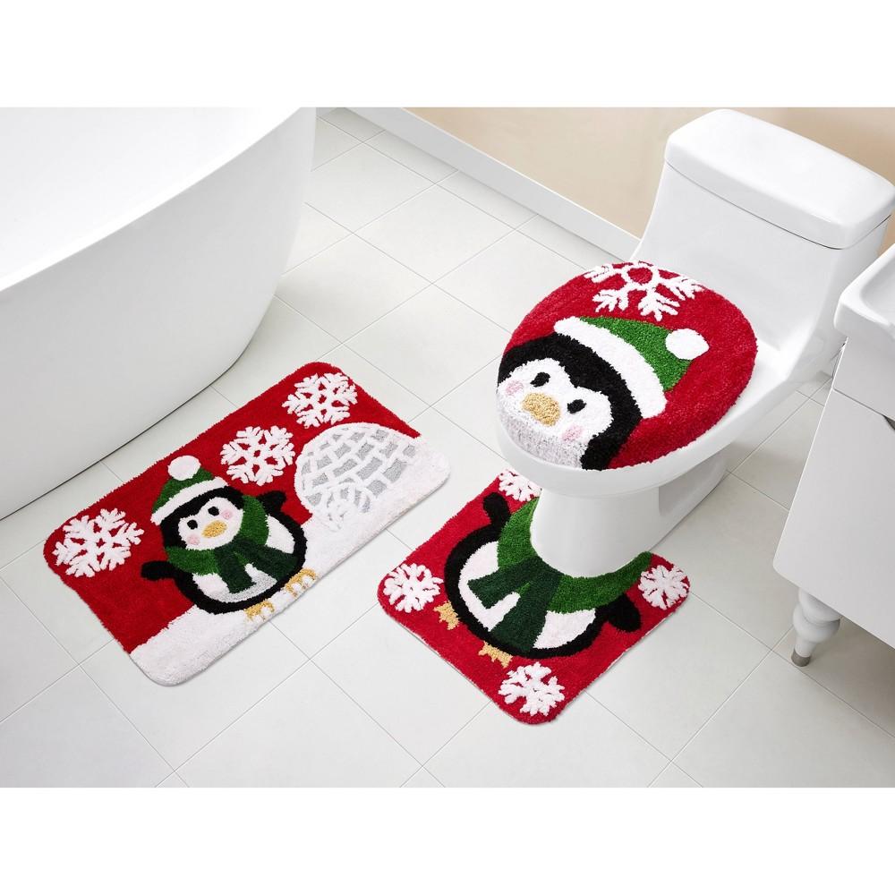 3pc Penguin Holiday Bath Rug Set Vcny