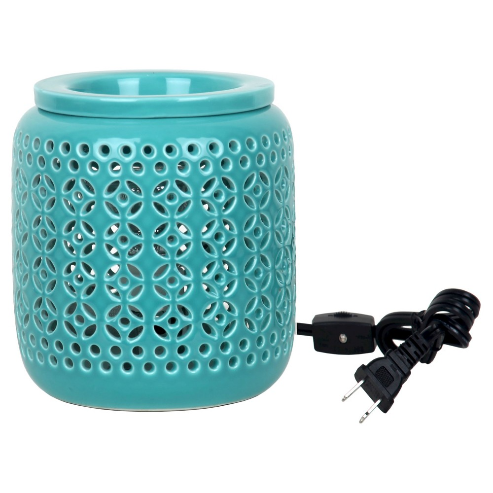 """Image of """"6.8"""""""" x 4.7"""""""" Electric Fragrance Warmer Lattice Teal - Home Scents by Chesapeake Bay Candle, Blue"""""""