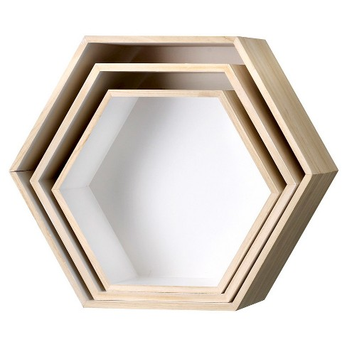"Wood Hexagonal Boxes set of 3 - Natural/White Truck Ship (18-3/4"") - 3R Studios - image 1 of 1"