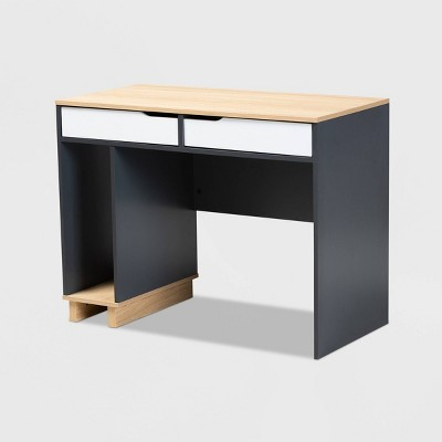 Reed 2 Drawer Wood Computer Desk - Gray/White - Baxton Studio