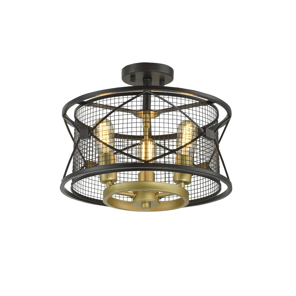 Harlequin 3-Light Ceiling Light Warm Bronze - Rogue Decor Co.