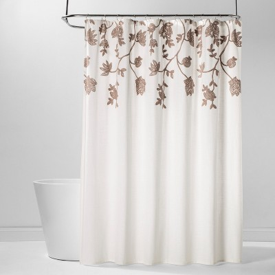 Crewel Floral Embroidered Shower Curtain White - Threshold™