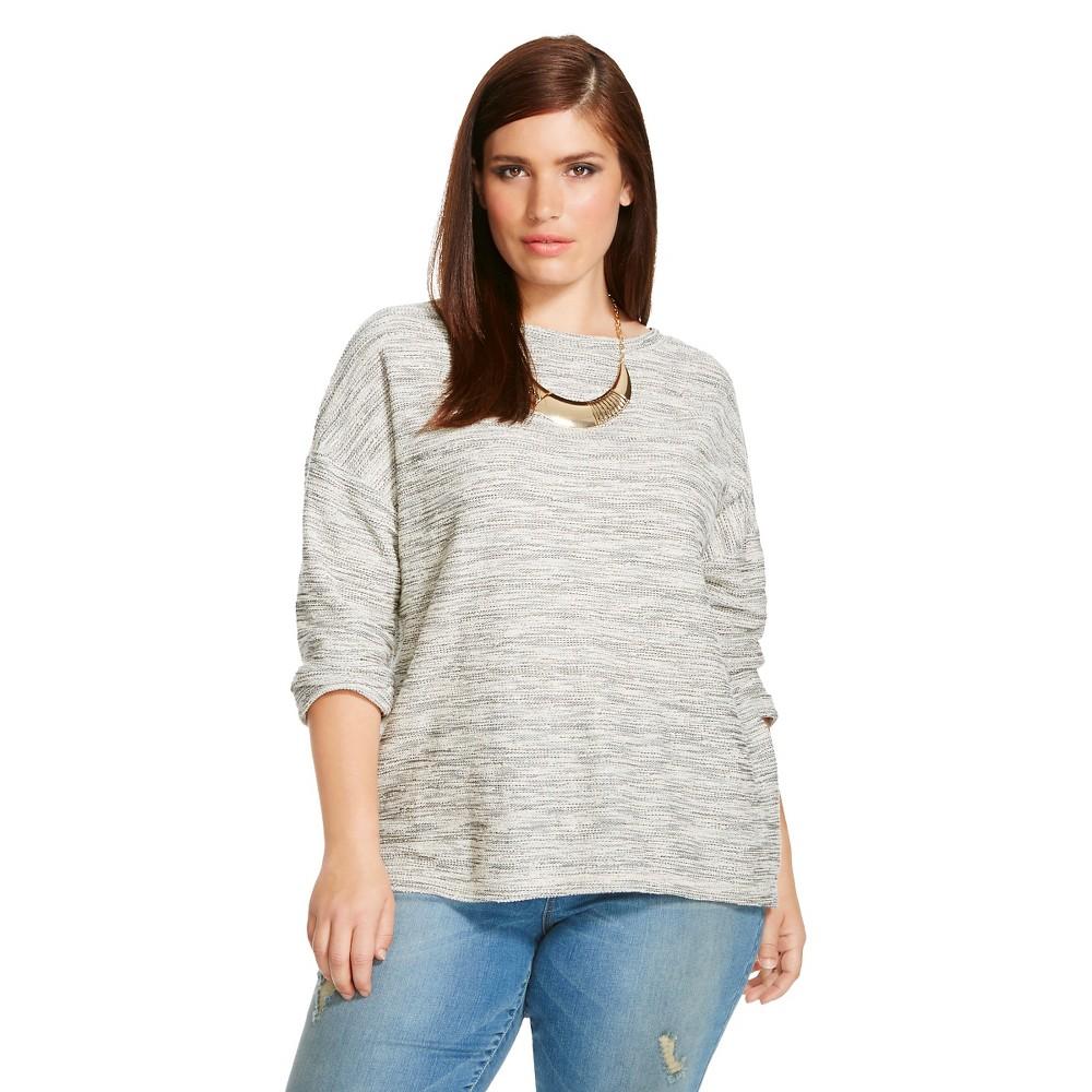 Women's Plus Size Long Sleeve Plus Size Textured Pullover Sweater - Ava & Viv Black 2X
