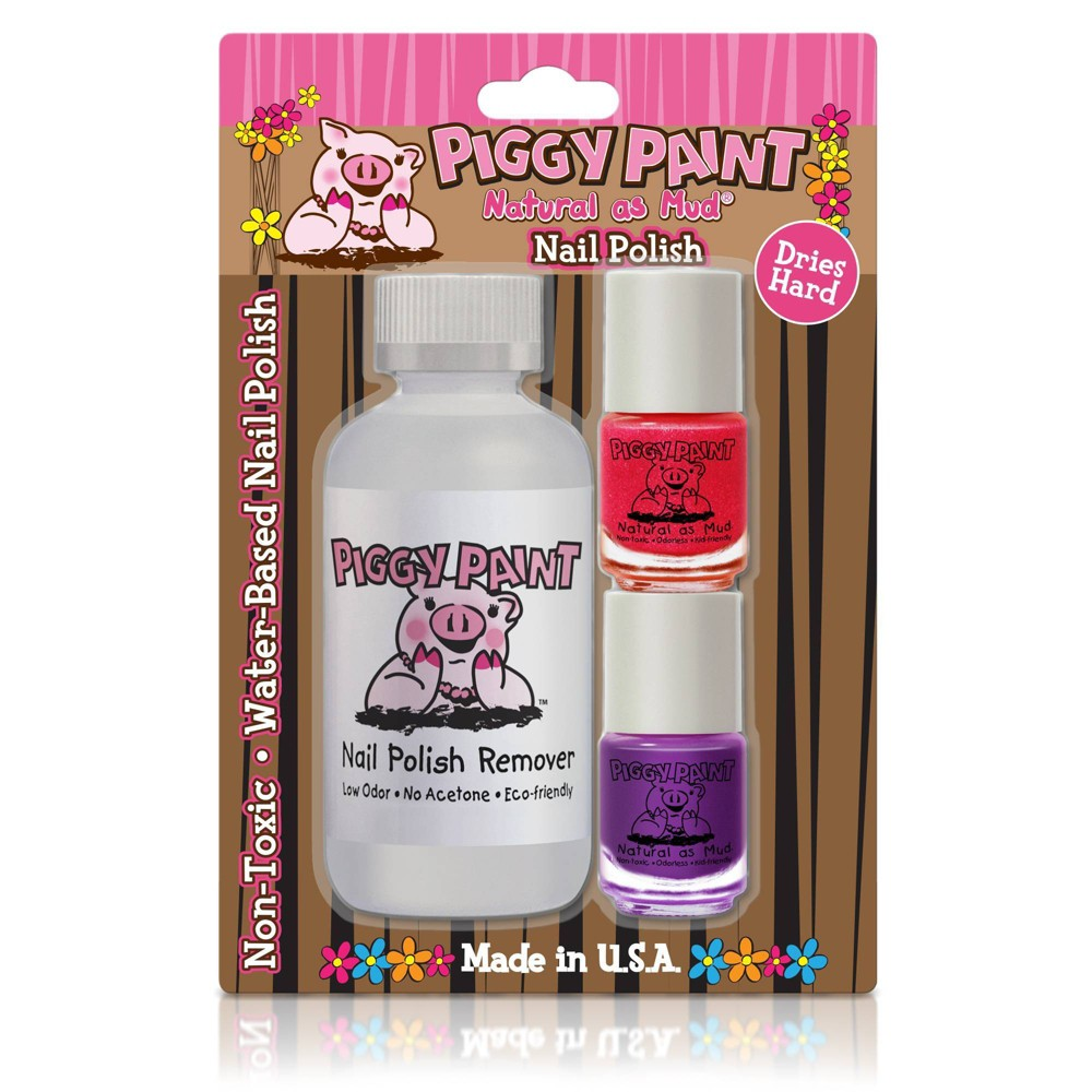 Image of Piggy Paint Polish + Remover Pom Pom Party Girls Rule! - 3ct