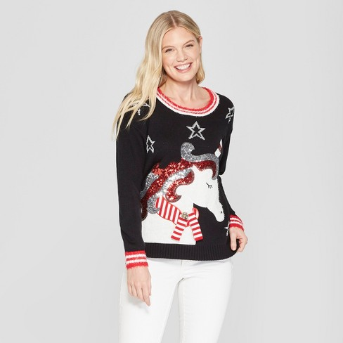 Womens Unicorn Christmas Ugly Sweater 33 Degrees Black Target