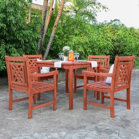 Vifah Patio Furniture.Malibu 5pc Wood Outdoor Patio Stacking Dining Set Tan Vifah