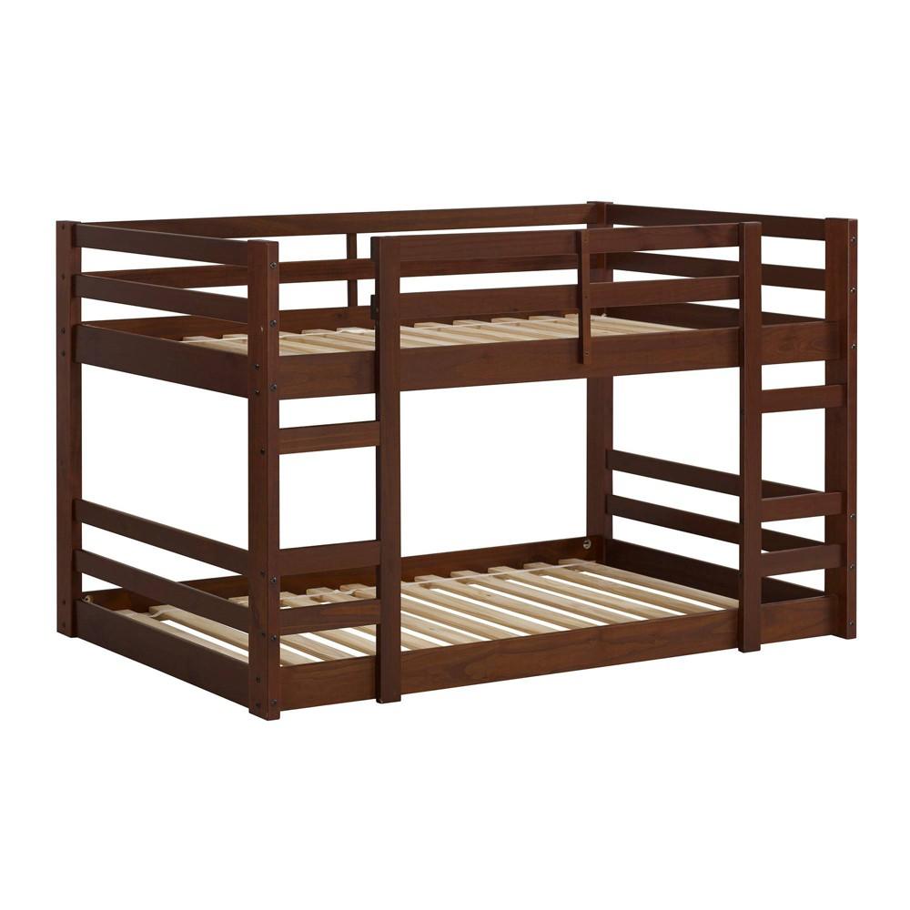 Twin Low Wood Bunk Bed Walnut (Brown) - Saracina Home