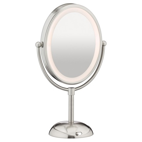 Makeup Mirror.Conair Double Sided Led Lighted Satin Nickel Finish Cosmetic Mirror 1x 7x Magnification