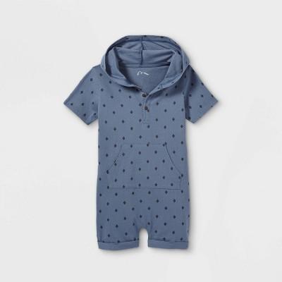 Toddler Boys' 'Diamond' Hooded Short Sleeve Romper - art class™ Blue 12M