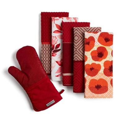 KitchenAid Kitchen Aid 6pk Kitchen Towel Oven Mitt Bundle Red