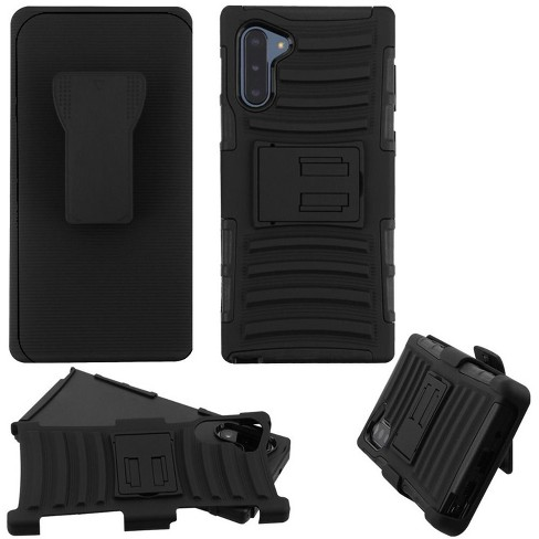 For Samsung Galaxy Note 10 Black Advanced Armor Hard Hybrid Case w/stand Holster - image 1 of 4