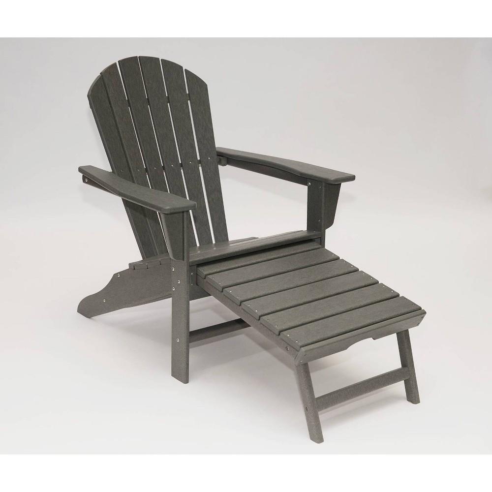 Image of Hampton Outdoor Patio Adirondack Chair with Hideaway Ottoman - Gray - LuXeo
