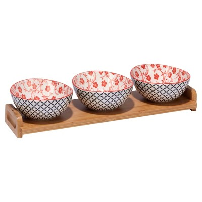 Certified International Chelsea Mix & Match Porcelain and Bamboo 4pc Serving Set Red