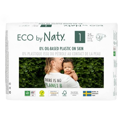 Eco By Naty 4pk Premium Disposable Diapers for Sensitive Skin - Size 1 (100ct)