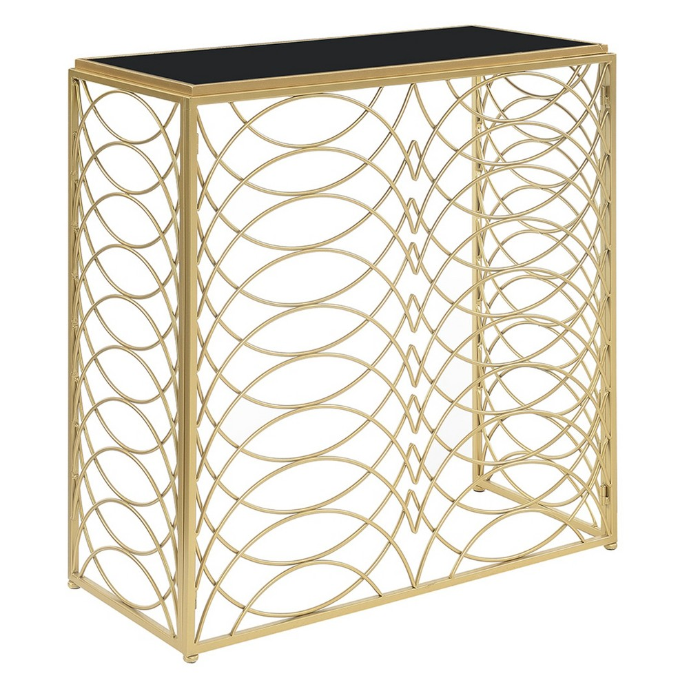 Gold Coast Tranquility Console Table Gold/Black Glass - Johar