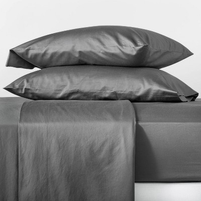 Queen 500 Thread Count Washed Supima Sateen Solid Sheet Set Dark Gray - Casaluna™