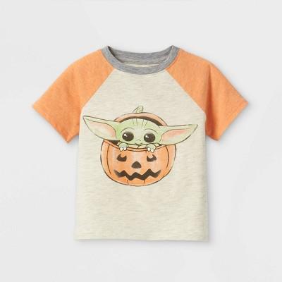 Toddler Boys' Baby Yoda Halloween Short Sleeve Graphic T-Shirt - Orange