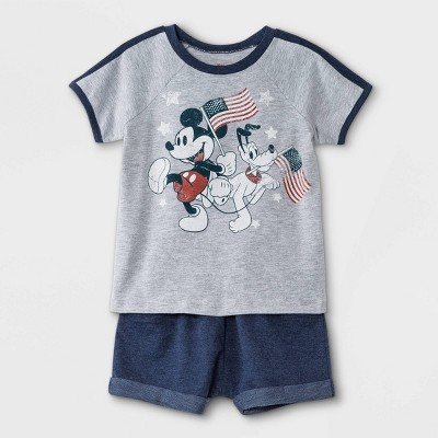 Toddler Boys' 2pc Mickey Mouse Americana Short Sleeve French Terry Top and Bottom Set - Navy