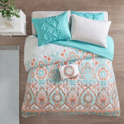 8pc Queen Skylar Comforter and Sheet Set Aqua