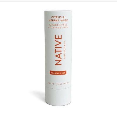 Native Plastic Free Citrus & Herbal Musk Deodorant for Men - 2.65oz