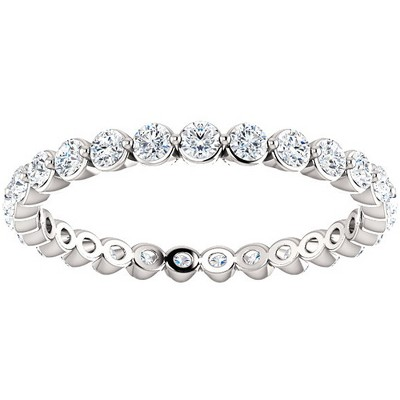 Pompeii3 3/4 Ct Diamond Single Prong Eternity Ring Wedding Stackable Band White Gold
