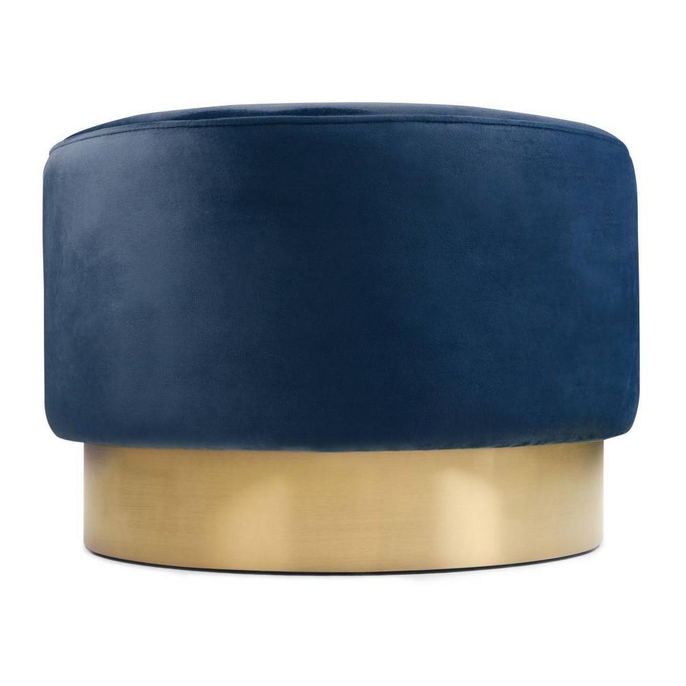 Ainsley Large Round Footstool Blue - Wyndenhall