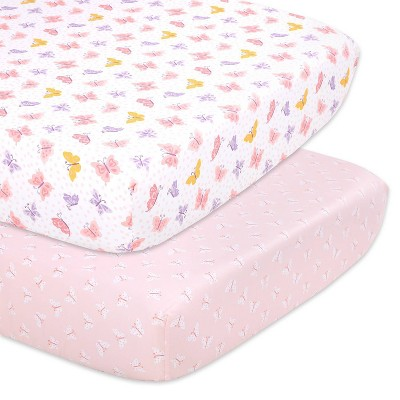 The Peanutshell Fitted Crib Sheets - Butterfly 2pk