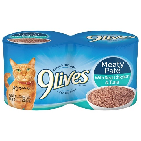 9Lives Meaty Paté with Real Chicken & Tuna Wet Cat Food - 5.5oz/4ct Pack - image 1 of 4