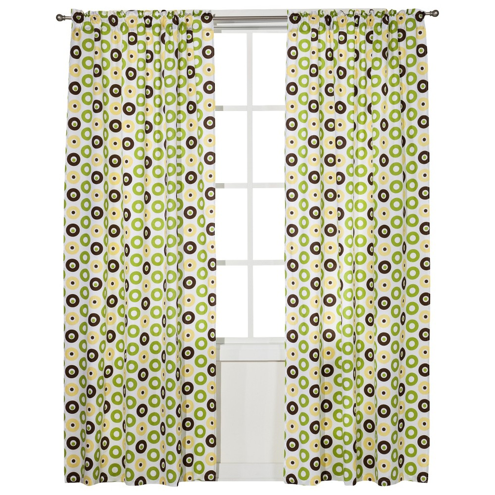 Image of Bacati Curtain Panel - Mod Dots - Green/Yellow Chocolate
