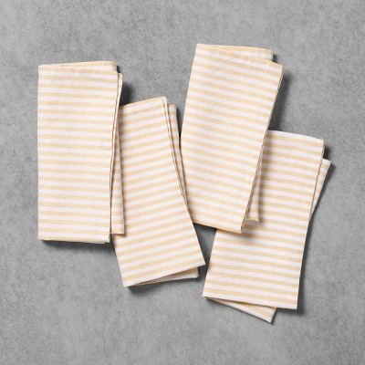 4pk Linen Blend Napkin Set Yellow Stripe - Hearth & Hand™ with Magnolia