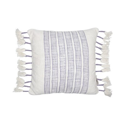 Purple and White Hand Woven 18 x 18 inch Decorative Cotton Throw Pillow Cover With Insert and Hand Tied Roped Tassels - Foreside Home & Garden