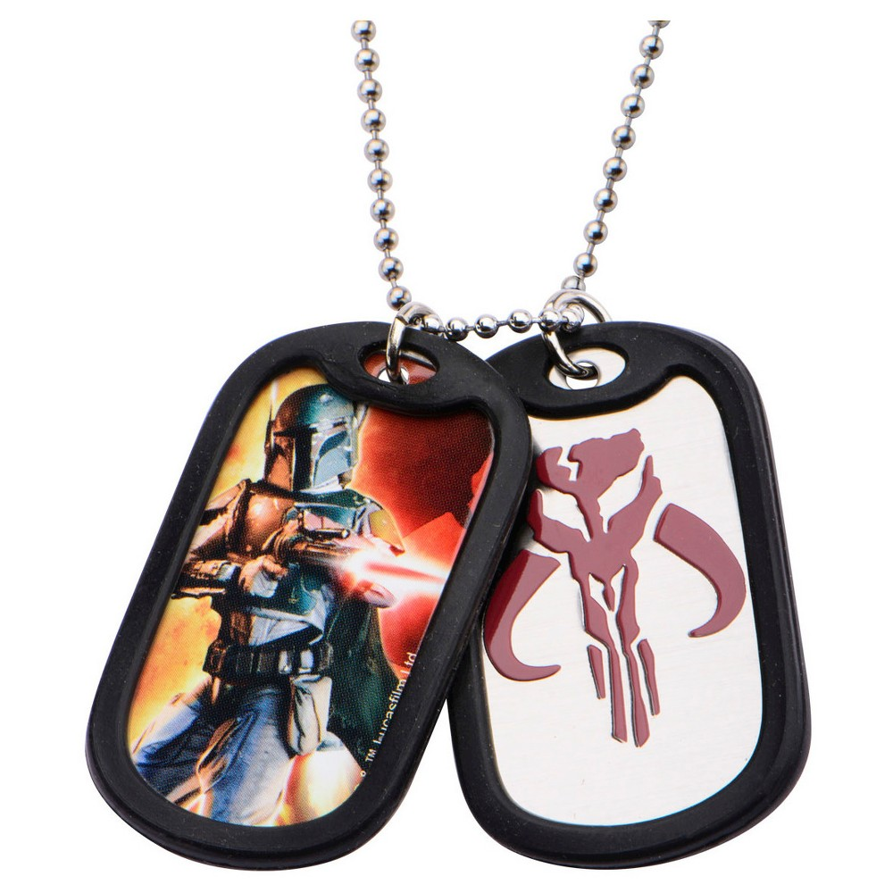 Men's Star Wars Bobba Fett Stainless Steel Double Dog Tag with Rubber Silencers (22)