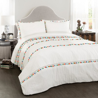 White Boho Tassel Comforter Set (Full/Queen)- Lush Decor
