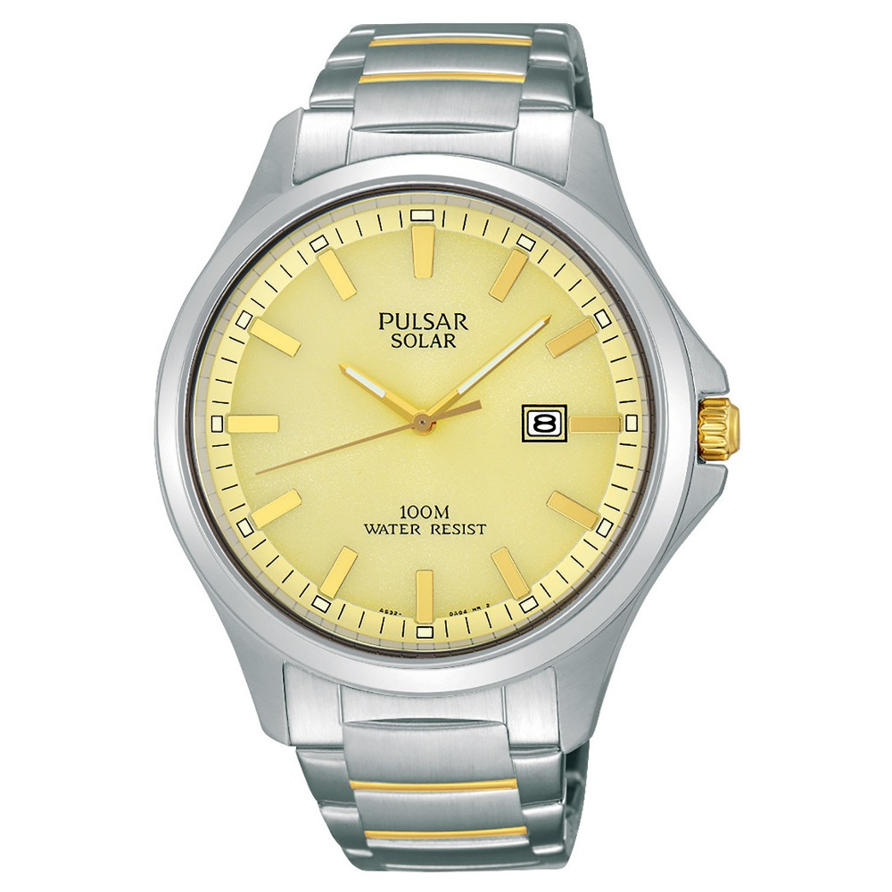 Men's Pulsar Solar Dress Watch - Silver Tone with Champagne Dial - PX3075
