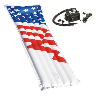 Swimline 72-Inch American Flag Swimming Pool Raft Float with Electric Air Pump