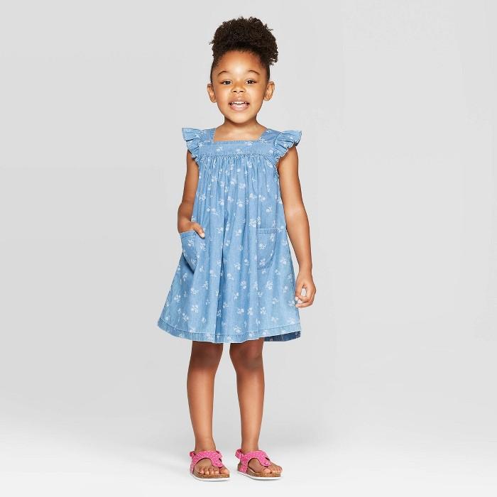 OshKosh B'Gosh Toddler Girls' Floral Pinafore - Blue - image 1 of 1