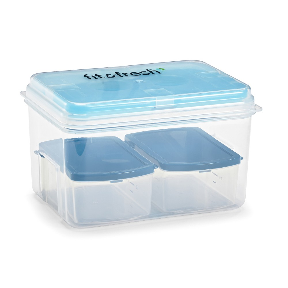 Image of Fit & Fresh Lunch on the Go Container Set - 7pc, Clear Blue