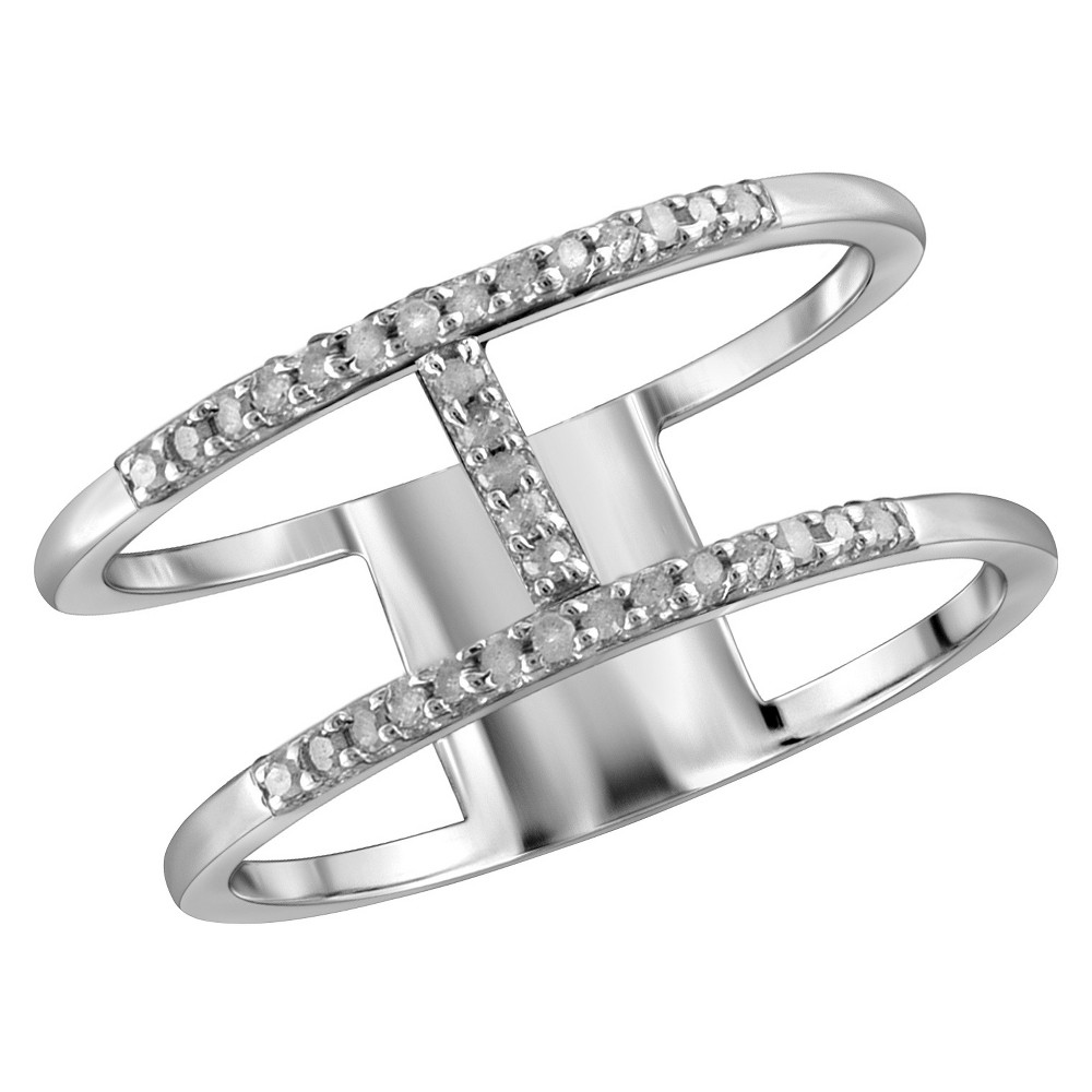 1/10 CT. T.W. Round-Cut White Diamond Prong Set H Ring in Sterling Silver - White (8)