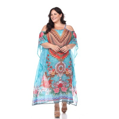 Plus Size Sheer Caftan Maxi Dress - One Size Fits Most Plus - White Mark