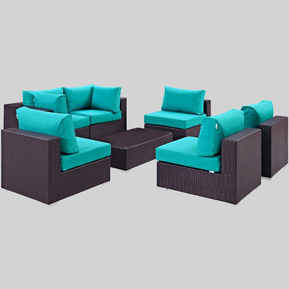 Convene 7pc Outdoor Patio Sectional Set - Turquoise - Modway