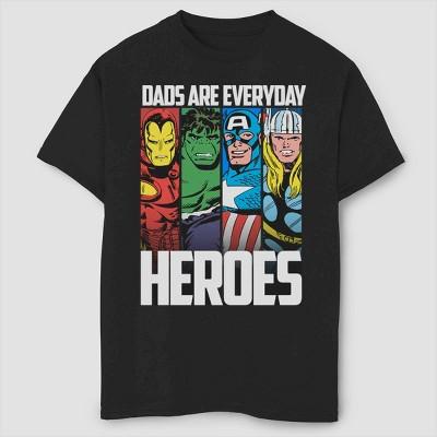 Boys' Marvel Everyday Hero Dad Short Sleeve T-Shirt- Black