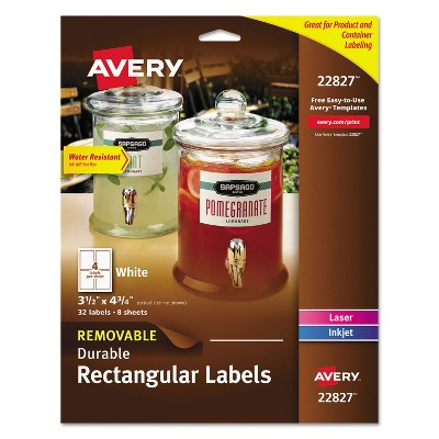 Avery Print-to-the-Edge Removable Labels w/TrueBlock 3 1/2 x 4 3/4 White 32/Pack 22827