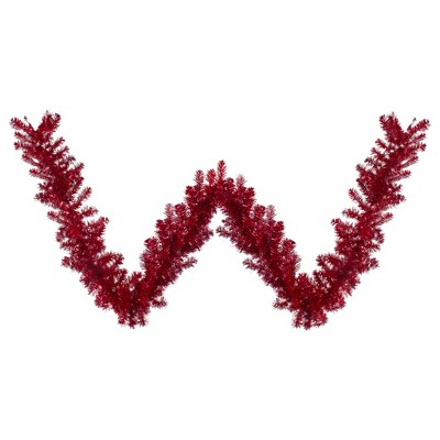 "Northlight 9' x 12"" Metallic Red Tinsel Artificial Christmas Garland - Unlit"