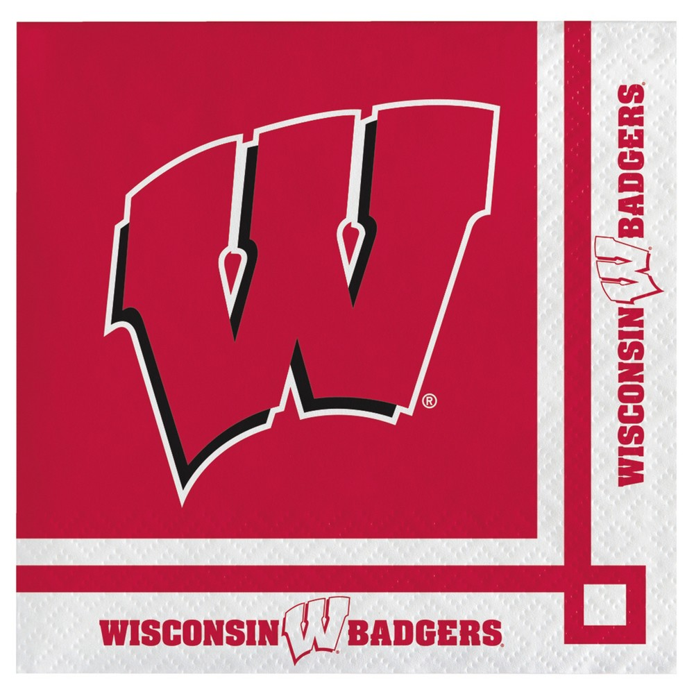 Image of 20ct University of Wisconsin Badgers Cocktail Beverage Napkins