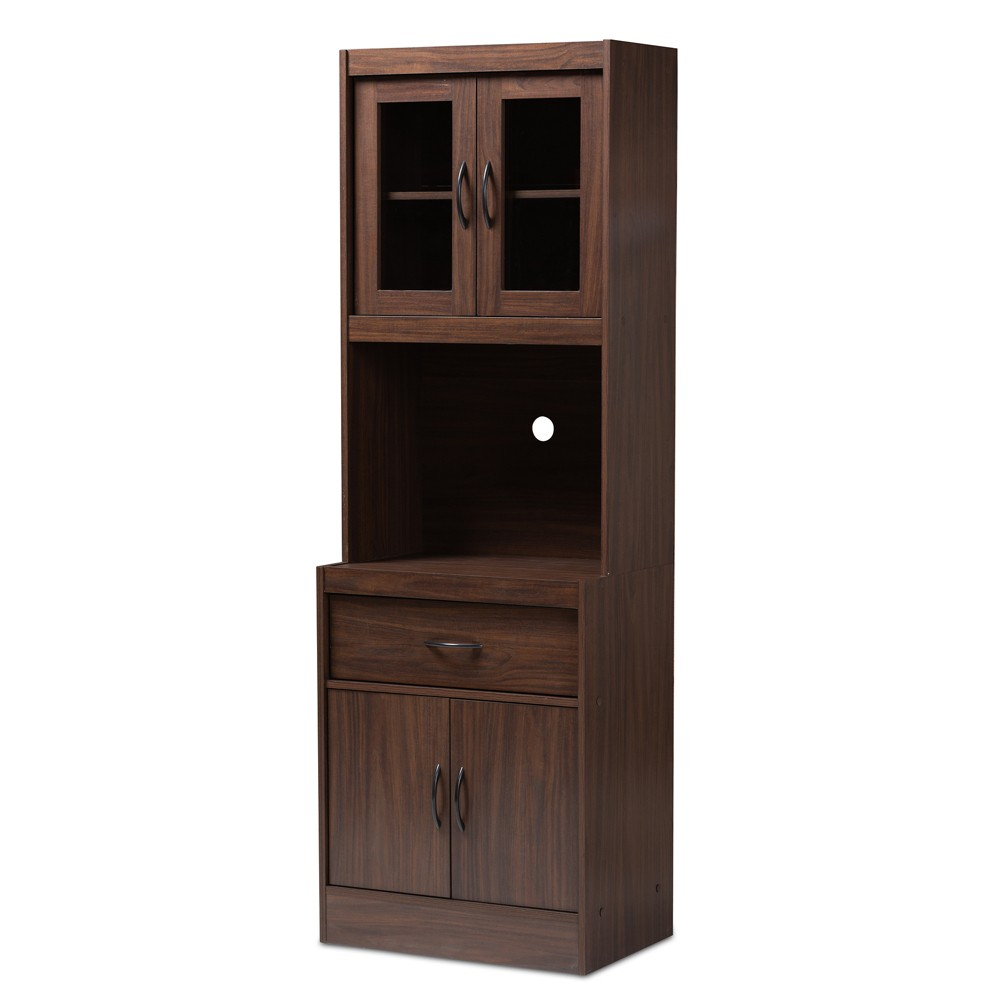 Laurana Walnut Finished Kitchen Cabinet and Hutch Brown - Baxton Studio