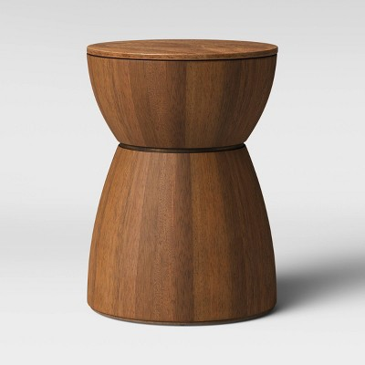 Prisma Round Natural Wood Turned Drum Accent Table Brown - Project 62™