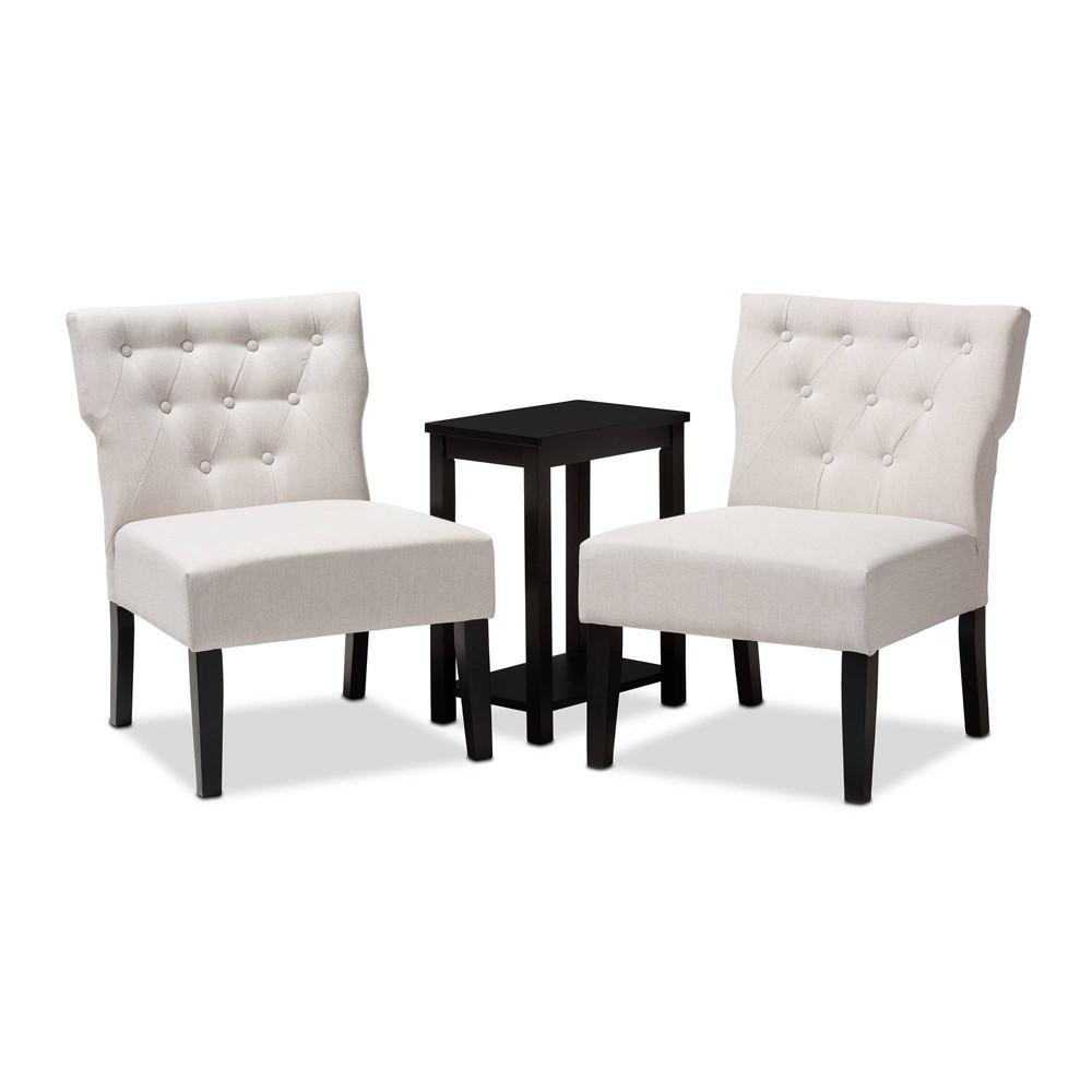 3pc Lerato Accent Chair & Table Set Beige - Baxton Studio
