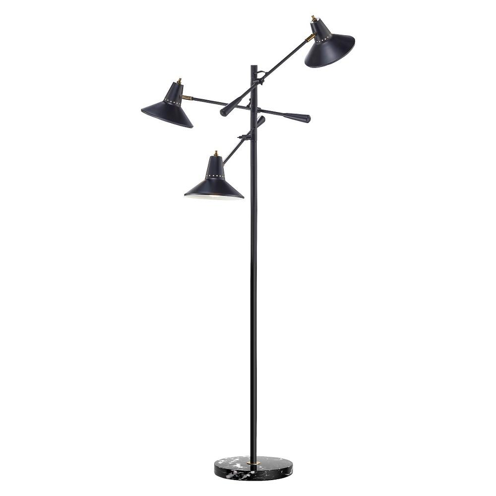 Image of Adesso Nelson 3 Arm Floor Lamp - Black