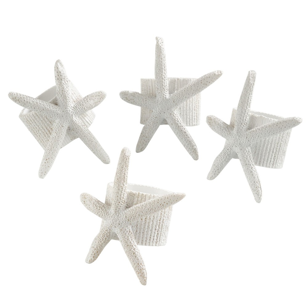 4pk White Neptune Starfish Napkin Ring 1.5 - Saro Lifestyle