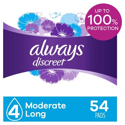 Always Discreet Incontinence and Postpartum Incontinence Pads for Women - Moderate Absorbency - Long Length - 54ct